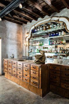Basement bar inspiration 😬Sacripante Gallery And Bar, Rome, Italy - The Cool Hunter Counter Design, Bar Counter, Cafe Restaurant, Restaurant Design, Butcher Restaurant, Küchen Design, House Design, Italian Bar, Architecture Restaurant