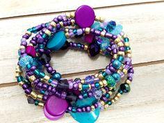 Gypsy Wrap Bracelet, Mardi Gras Jewelry, Bohemian Jewelry, Stretch Bracelet, Purple Bead Bracelet, Masquerade Jewelry, New Orleans Jewelry by ChristalDreamz on Etsy