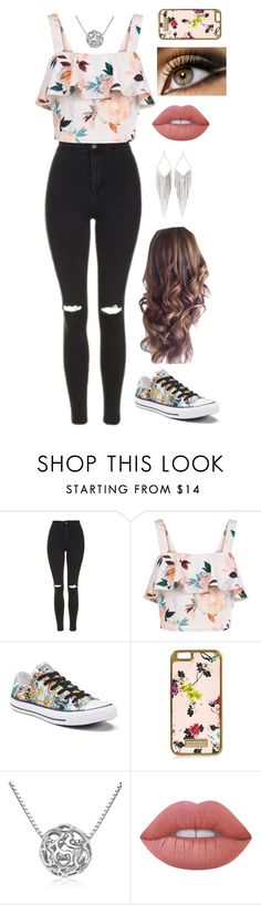 """Untitled #93"" by amyhnsn ❤ liked on Polyvore featuring Topshop, New Look, Converse, River Island, MoMo, Lime Crime and Jules Smith"