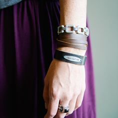 Four Square, Simple Leather Wrap, and Jane Id Bracelet (Customize this bracelet with a word or phrase of your choice). All bracelets by Jewel Kade