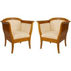 Pair of Swedish Biedermeier Upholstered Birch Bergeres (Sweden, circa first quarter of the 20th century) | 1stdibs