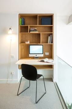Gadgets 405324035215161501 - Fold-down work station inc plug socket, however NB PC, not lappie. Open shelf beneat… – Source by cmoutat Office Nook, Home Office Space, Home Office Desks, Office Spaces, Plywood Furniture, Office Furniture, Furniture Design, Bureau Design, Alcove Desk