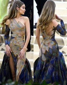 Gigi Hadid wearing Versace at The Met Gala May 2018 Gigi Hadid trägt Versace bei der Met Gala May 2018 Source by . Look Fashion, Fashion Design, Runway Fashion, Mode Outfits, Met Gala Outfits, Mode Inspiration, Beautiful Gowns, Dream Dress, Costume Design