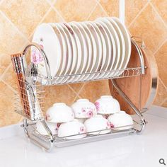 Double Tiers shelf Multi-functional Stype Stainless Steel Dish Rack Kitchen Storage Boxes Dish Drainer Cup Rack Plates holder #clothing,#shoes,#jewelry,#women,#men,#hats,#watches,#belts,#fashion,#style