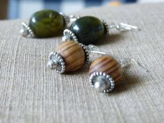 Silver, Wood & Glass Bead Earrings Handcrafted by Shen Bettridge Email shenbettridge@gmail.com