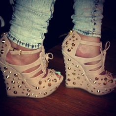 .studded nude wedges