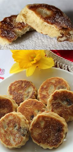 Welsh Cake Recipe with printable recipe sheet PDF. Use currants instead of raisins and nutmeg instead of mixed spices. Welsh Cakes Recipe, Welsh Recipes, Scottish Recipes, Scottish Desserts, Easy Cake Recipes, Sweet Recipes, Dessert Recipes, Tea Cakes, Bagels