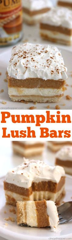 These Pumpkin Lush Bars Will Make For A Delicious Fall Layered Dessert. You Will Find Layers Of Cream Cheese Filling, Pumpkin Pudding, And Whipped Topping, All On Top Of A Yummy Shortbread Crust. Ideal For Thanksgiving Dessert. Dessert Oreo, Bon Dessert, Pumpkin Dessert, Dessert Bars, Dessert Simple, Simple Dessert Recipes, Dessert Food, Dessert Drinks, Layered Desserts