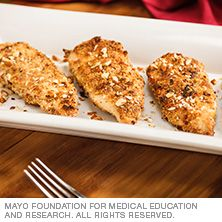 Almond crusted chicken from Mayo Clinic, it's low calorie, high protein and high on taste. It is also easy to make for a dinner for 1 to 4 people, give it a try.