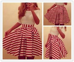 Candy Cane Striped Skirt by Dress Lily