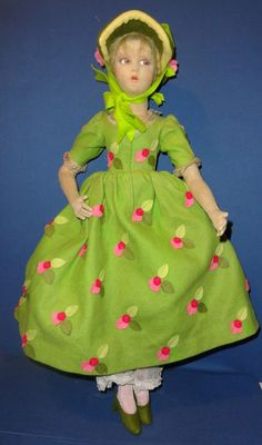 Lenci Bed Boudoir Doll in Green Floral Dress from sarabernsteindolls on Ruby Lane