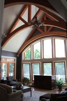 Arched Timber Trusses in a Residential Interior