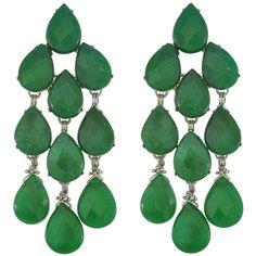 Siman Tu Green Aventurine Drop Earrings (8,600 MXN) ❤ liked on Polyvore featuring jewelry, earrings, accessories, brinco, orecchini, green drop earrings, siman tu, green jewelry, green earrings and green aventurine jewelry