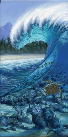 Phil Roberts Paintings   ... reef, surf art painting, wave, barrel surf art by Phil Roberts