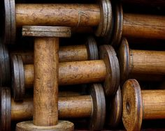 """Vintage Wooden Thread Spools ~ These always make me think of my Grandmother, who, as a young Woman, worked in a Thread Mill Called 'Coates' in the Town of Paisley Scotland. The very place that the """"Paisley Pattern"""" was created and weaved for the fist time!....Many a tired Hand filled each one of these spools"""