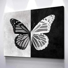 Duality illustrated in a butterfly, a wonderful piece to add to your home. Easy Canvas Art, Simple Canvas Paintings, Small Canvas Art, Cute Paintings, Mini Canvas Art, Acrylic Painting Canvas, Butterfly Acrylic Painting, Knife Painting, Butterfly Canvas