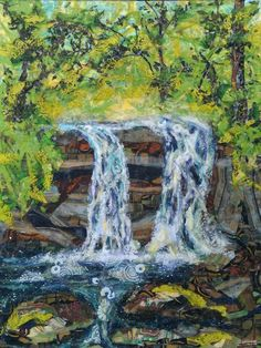 "Laura Adams, ""Laurel Falls"" Laurel Falls, Collage Landscape, Waterfall, Paper, Outdoor, Art, Outdoors, Art Background, Kunst"