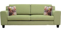 Santa Lucia Three Seater Sofa with Throw Pillows in Pistachio Green Colour by CasaCraft