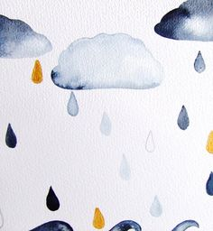Original Drawing Landscape Clouds Rain Water Ocean Drops Sky Watercolor Painting Ink Contemporary Art Grey Blue Gold Home Decor