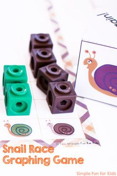 My preschooler practiced graphing, counting, color words, and tally marks with this printable Snail Race Graphing Game!