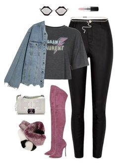 """""""Untitled #562"""" by styleswavington on Polyvore featuring River Island, Yves Saint Laurent, Casadei, Chanel, Chrome Hearts, Off-White, Lanvin and MAC Cosmetics"""