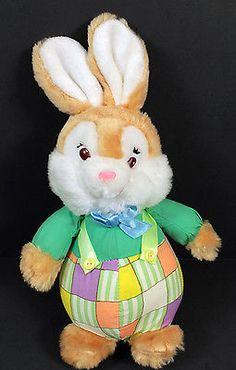 "Bloomer Bunny Rabbit Plush Stuffed Animal Lovey Doll 11"" Tall"