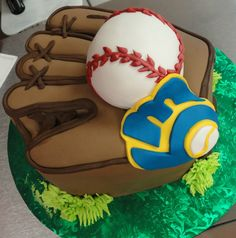 Brewers baseball mitt grooms cake by slice custom cakes