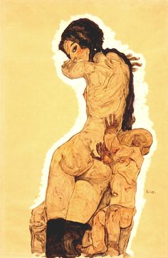"""Woman with Homunculus"" by Egon Schiele 『胎児と女』"