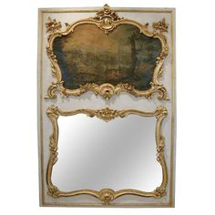 18th Century Louis XV Trumeau with Painting   From a unique collection of antique and modern trumeau mirrors at https://www.1stdibs.com/furniture/mirrors/trumeau-mirrors/