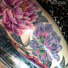 Amazing vintage botanical style peony flower tattoos by Liz Venom.   These beautiful antique styled peonies are super feminine.   Ink, inked, flowers, superb, crazy, floral, sexy, realistic, cute, tattooed, tattoo, incredible, Melbourne, Brisbane, Australia, Edmonton, Canada, Alberta, Honolulu, magazine, 3D, realism.