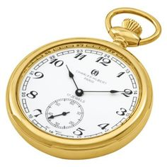 Charles-Hubert, Paris Gold-Plated Open Face Mechanical Pocket Watch Charles-Hubert, Paris. $156.00. 17 jewel mechanical movement. Deluxe gift box. White dial with Arabic numerals. 14k gold-plated stainless steel 51mm open face case with a matching curb chain