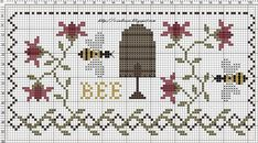 ≗ The Bee's Reverie ≗  Bee and skep cross stitch | Sub Rosa on Blogspot