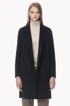 Wool blend inside strap coat
