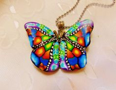 Handmade Polymer Clay Kaleidoscope Butterfly Millefiori Focal Bead Pendant Necklace Hand Sculpted Necklace  polymer Clay Jewelry - DeCicco by FabulousDesign on Etsy
