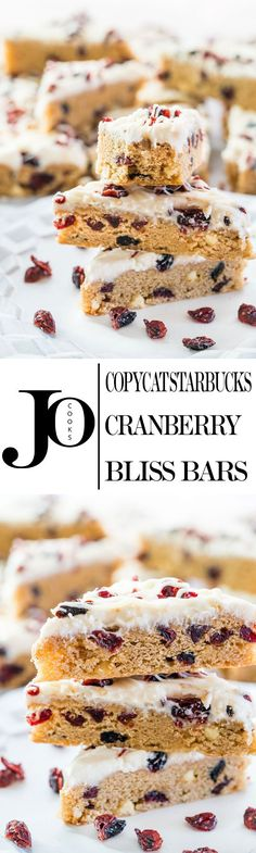 These Copycat Starbucks Cranberry Bliss Bars covered in frosting and cranberries are melt in your mouth good and a perfect sweet treat when on the go.