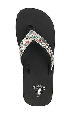 cf98d901a215 Corky s Women s Black with Colored Jewels Bling Flip Flops