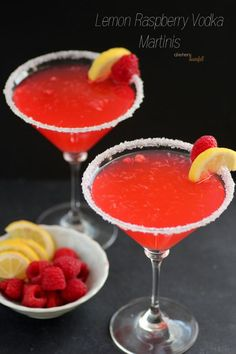 Lemon and Raspberry Martinis made with infused vodka and lemonade.