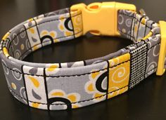 Yellow fun striped large dog collar by ruffthreadsAZ on Etsy