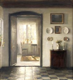 "Carl Vilhelm Holsøe (1863–1935) . The Sunlit Room, 1922 . Oil on canvas, 54 x 48 cm (21.3"" x 18.9"")"