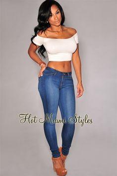 Medium Wash Denim Basic Skinny Jeans.