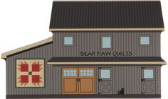 Amish Quilts, Barn Quilts, Bear Paw Quilt, Building Illustration, Barn Art, Quilt Of Valor, Seaside Village, Bear Paws, Model Trains
