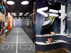 The urban dash. What a cool way to test out new running shoes.  New Balance store - New York.