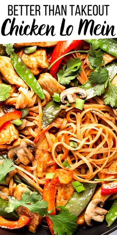 Tender cubes of chicken breast, slices of red bell pepper, mushrooms, snow peas and carrots mingle with warm lo mein noodles in this classic Chicken Lo Mein recipe. It's an easy takeout-style dinner that's healthy and delicious! Best Chicken Recipes, Turkey Recipes, Asian Recipes, Ethnic Recipes, Lo Mein Noodles, Chicken Lo Mein, Snow Peas, Stuffed Mushrooms, Stuffed Peppers
