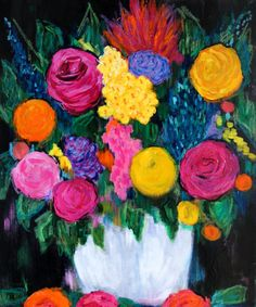 Large BOLD Floral Still Life Painting Flowers by BluePoppyDesign, $250.00