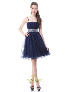 vampal.co.uk Offers High Quality Navy Blue Homecoming Dress With Beaded Waist And Spaghetti Straps,Priced At Only USD $95.00 (Free Shipping)