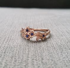 Blue Sapphire Gold Flower Engagement Ring Delicate Floral Wedding Bridal Band Dogwood Blossom Rose 14K Gold Cluster Anniversary Branch