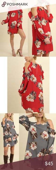 AMANDA Open Shoulder Floral Dress Available in grey & red.  NO TRADE   PRICE FIRM Bellanblue Dresses