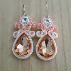Soutche Earrings, Handmade Earrings, Peach Earrings