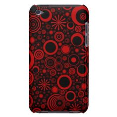 Rounds, Red-Black iPod Touch 4g Case Case-Mate iPod Touch Case #zazzle #ipod #cases #rounds #pattern #modern #red #shapes