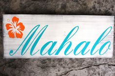Mahalo Hawaiian Wedding Sign for your Thank You Cards, Photo Props, Beach Wedding. Vintage White, 1-sided, 10 X 24 in.. $55.95, via Etsy.
